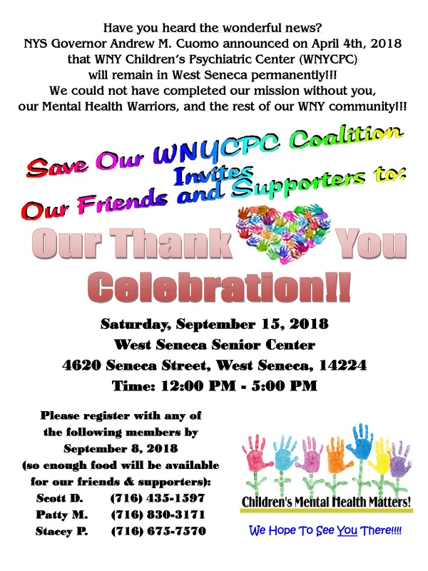 Save WNYCPC Coalition Thank You Celebration at the West Seneca Senior Center on September 15th from 12PM - 5PM